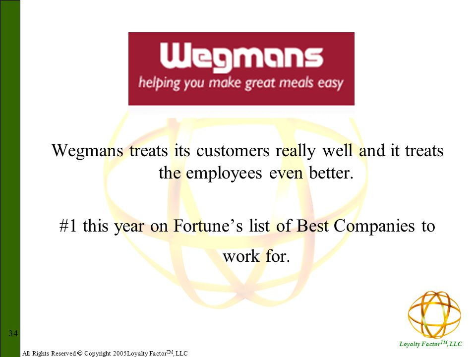 All Rights Reserved  Copyright 2005Loyalty Factor TM, LLC Loyalty Factor TM, LLC 34 Wegmans treats its customers really well and it treats the employees even better.