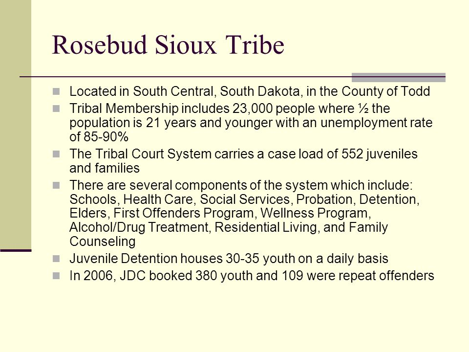 Rosebud Sioux Tribe Located in South Central, South Dakota, in the County of Todd Tribal Membership includes 23,000 people where ½ the population is 2