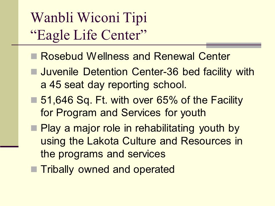 """Wanbli Wiconi Tipi """"Eagle Life Center"""" Rosebud Wellness and Renewal Center Juvenile Detention Center-36 bed facility with a 45 seat day reporting scho"""