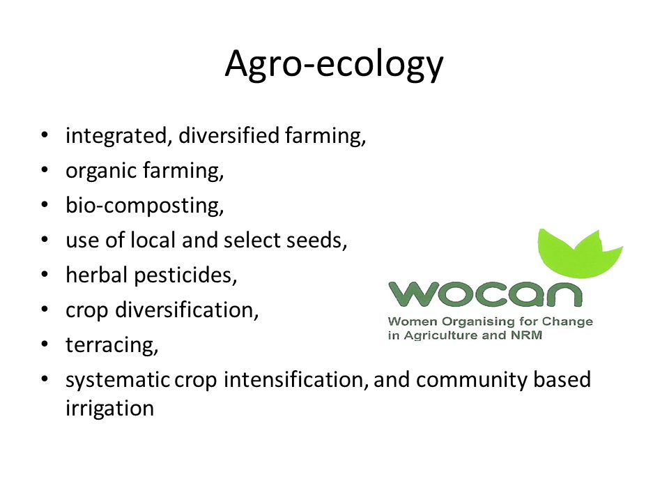 Agro-ecology integrated, diversified farming, organic farming, bio-composting, use of local and select seeds, herbal pesticides, crop diversification, terracing, systematic crop intensification, and community based irrigation