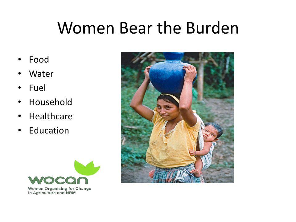 Women Bear the Burden Food Water Fuel Household Healthcare Education