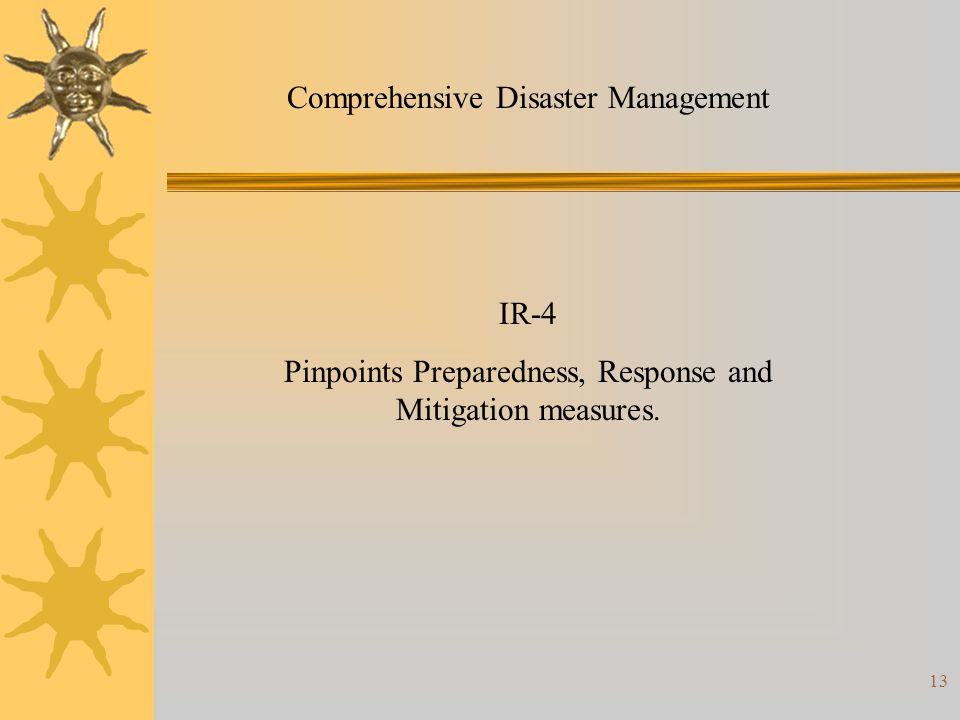 13 Comprehensive Disaster Management IR-4 Pinpoints Preparedness, Response and Mitigation measures.