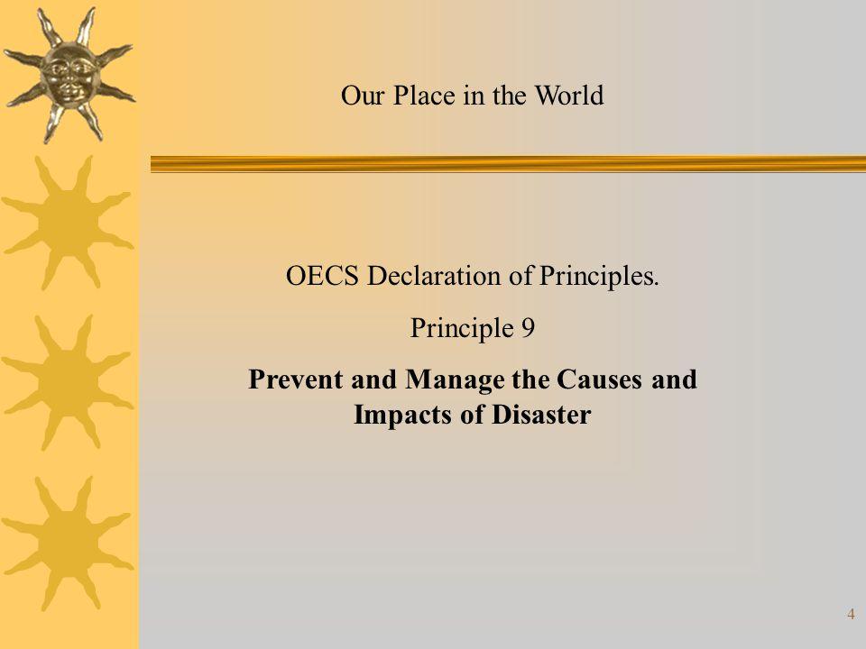 15 Comprehensive Disaster Management Partners CDERA, CDB/DMFC, CIDA, DIPECHO, OAS, OECS Secretariat, PAHO, UNDP, USAID, DFID, and ACS