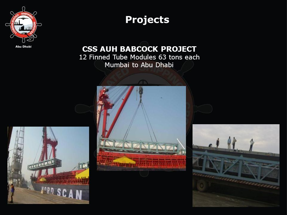 Projects CSS AUH BABCOCK PROJECT 12 Finned Tube Modules 63 tons each Mumbai to Abu Dhabi
