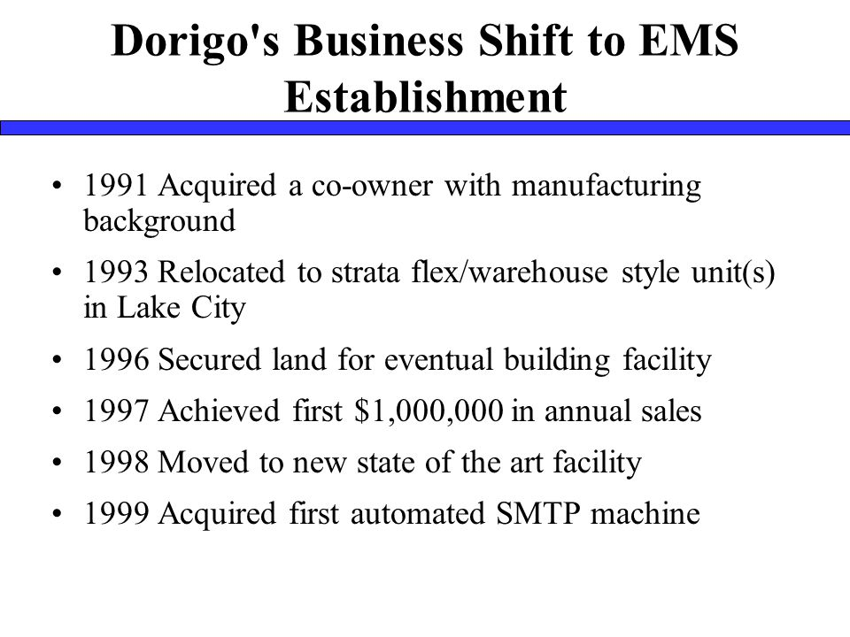 Dorigo s Business Shift to EMS Establishment 1991 Acquired a co-owner with manufacturing background 1993 Relocated to strata flex/warehouse style unit(s) in Lake City 1996 Secured land for eventual building facility 1997 Achieved first $1,000,000 in annual sales 1998 Moved to new state of the art facility 1999 Acquired first automated SMTP machine