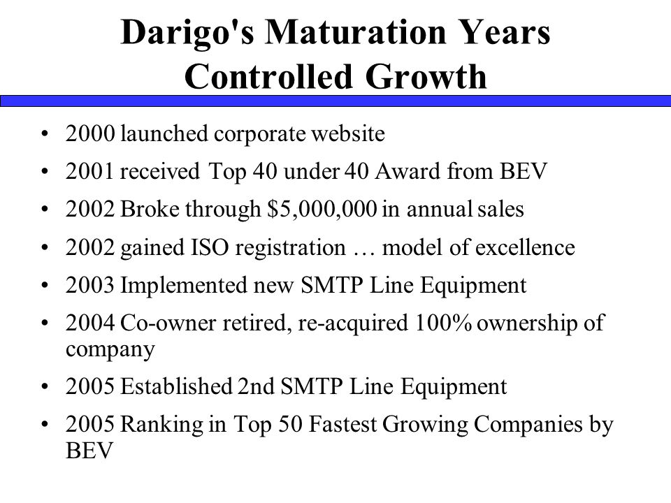 Darigo s Maturation Years Controlled Growth 2000 launched corporate website 2001 received Top 40 under 40 Award from BEV 2002 Broke through $5,000,000 in annual sales 2002 gained ISO registration … model of excellence 2003 Implemented new SMTP Line Equipment 2004 Co-owner retired, re-acquired 100% ownership of company 2005 Established 2nd SMTP Line Equipment 2005 Ranking in Top 50 Fastest Growing Companies by BEV