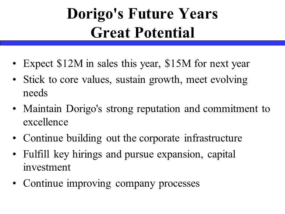 Dorigo s Future Years Great Potential Expect $12M in sales this year, $15M for next year Stick to core values, sustain growth, meet evolving needs Maintain Dorigo s strong reputation and commitment to excellence Continue building out the corporate infrastructure Fulfill key hirings and pursue expansion, capital investment Continue improving company processes