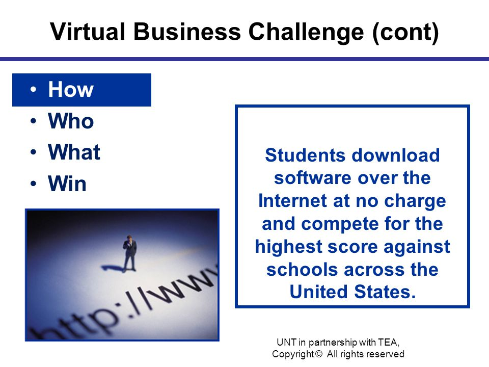 Virtual Business Challenge (cont) How Who What Win Students download software over the Internet at no charge and compete for the highest score against schools across the United States.
