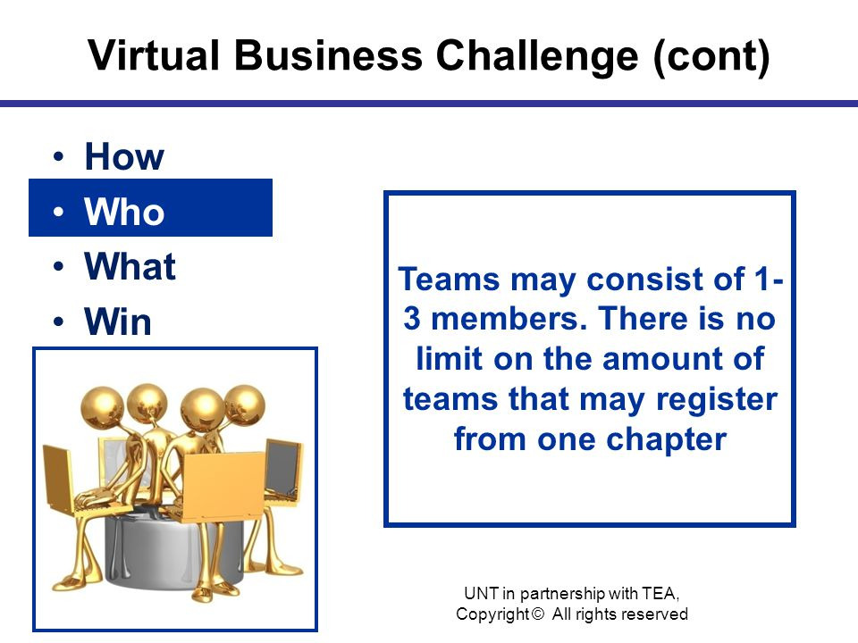 Virtual Business Challenge (cont) How Who What Win Teams may consist of 1- 3 members.