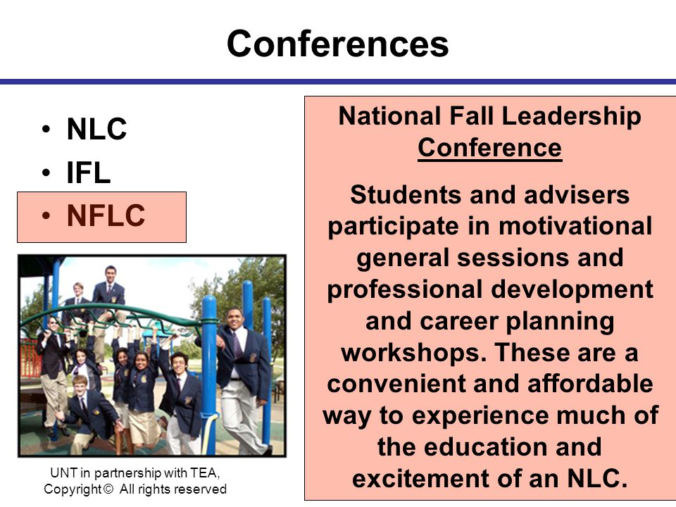 Conferences NLC IFL NFLC National Fall Leadership Conference Students and advisers participate in motivational general sessions and professional development and career planning workshops.