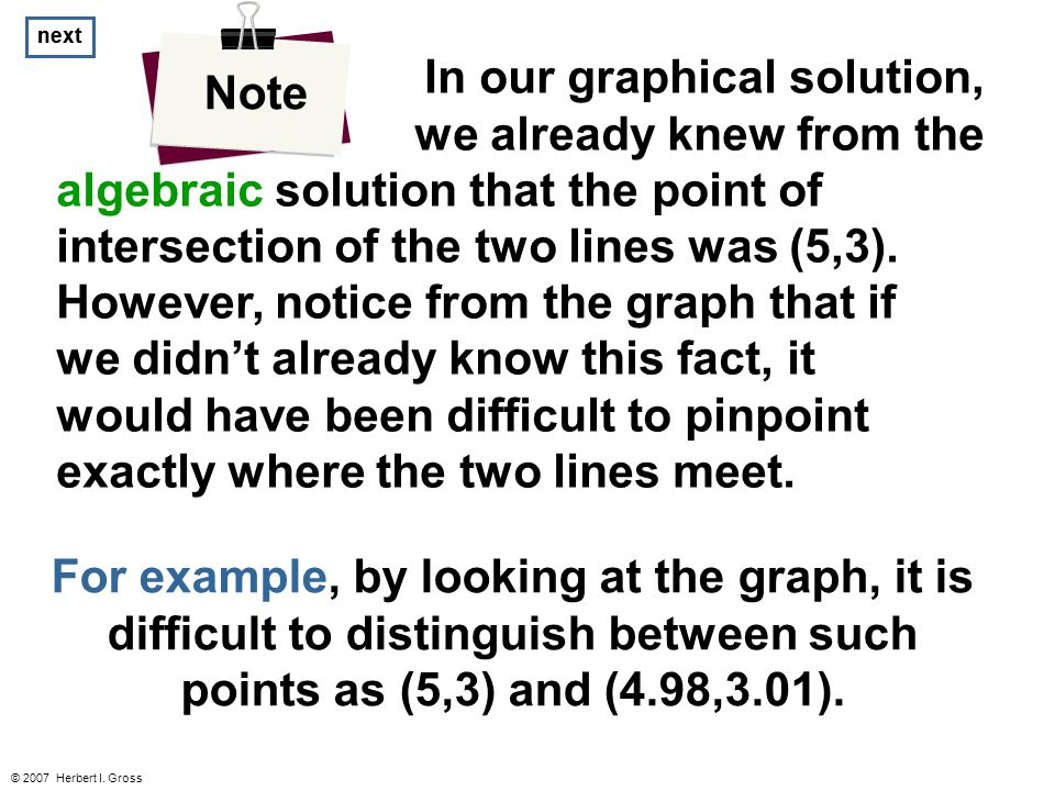 © 2007 Herbert I. Gross In our graphical solution, we already knew from the algebraic solution that the point of intersection of the two lines was (5,