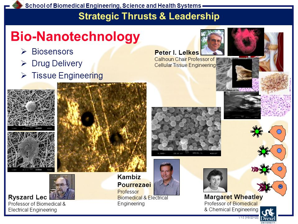 School of Biomedical Engineering, Science and Health Systems V 1.0 [MS 021120] Bio-Nanotechnology  Biosensors  Drug Delivery  Tissue Engineering Margaret Wheatley Professor of Biomedical & Chemical Engineering Kambiz Pourrezaei Professor Biomedical & Electrical Engineering Ryszard Lec Professor of Biomedical & Electrical Engineering Strategic Thrusts & Leadership Peter I.