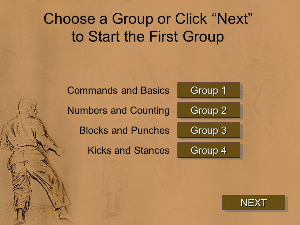Choose a Group or Click Next to Start the First Group NEXT Group 1 Group 1 Group 1 Group 1 Group 2 Group 2 Group 2 Group 2 Group 3 Group 3 Group 3 Group 3 Commands and Basics Numbers and Counting Blocks and Punches Group 4 Group 4 Group 4 Group 4Kicks and Stances