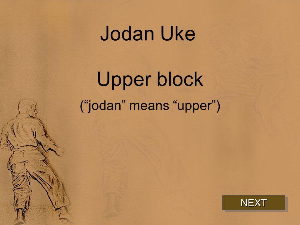 Jodan Uke Upper block ( jodan means upper ) NEXT