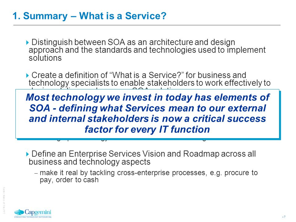 7 Footer Name of File.PPT 1.Summary – What is a Service.