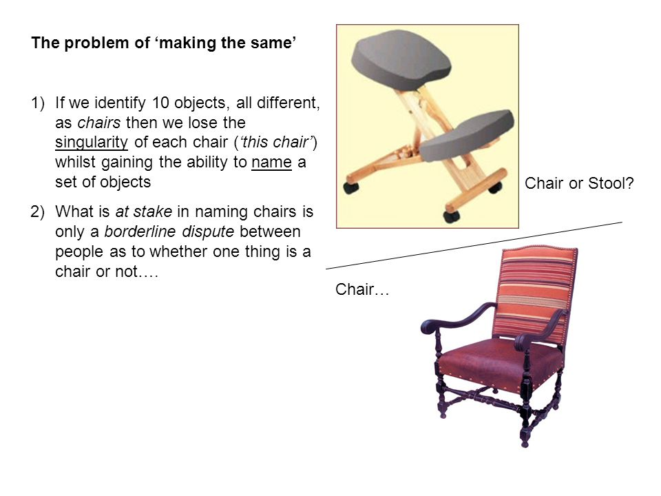 The problem of 'making the same' 1)If we identify 10 objects, all different, as chairs then we lose the singularity of each chair ('this chair') whilst gaining the ability to name a set of objects 2)What is at stake in naming chairs is only a borderline dispute between people as to whether one thing is a chair or not….