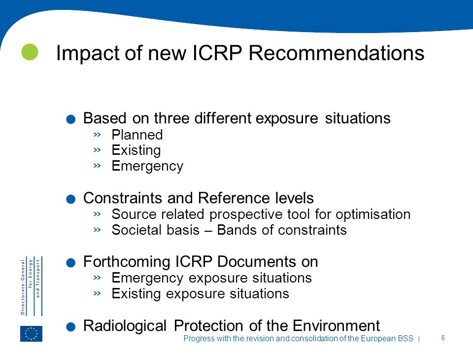 | 6 Progress with the revision and consolidation of the European BSS Impact of new ICRP Recommendations. Based on three different exposure situations