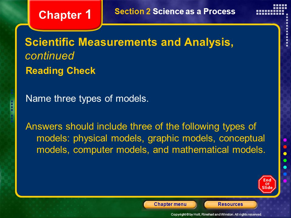 Copyright © by Holt, Rinehart and Winston. All rights reserved. ResourcesChapter menu Section 2 Science as a Process Chapter 1 Scientific Measurements