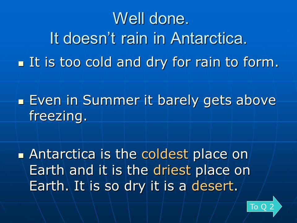 No trees grow in Antarctica.