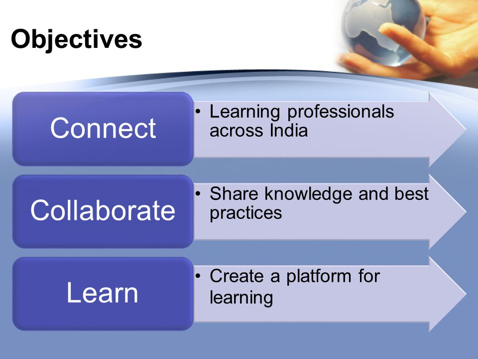 Objectives Learning professionals across India Connect Share knowledge and best practices Collaborate Create a platform for learning Learn