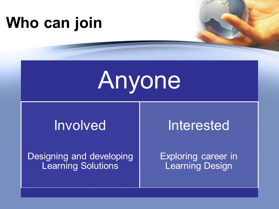 Who can join Anyone Involved Designing and developing Learning Solutions Interested Exploring career in Learning Design