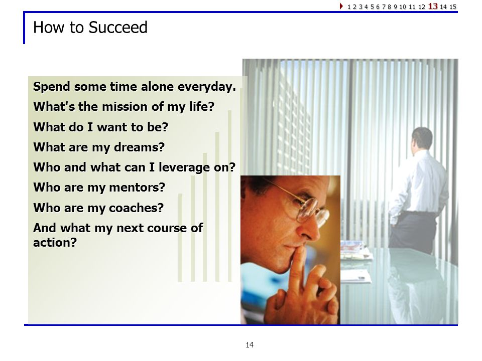 14 How to Succeed Spend some time alone everyday. What s the mission of my life.