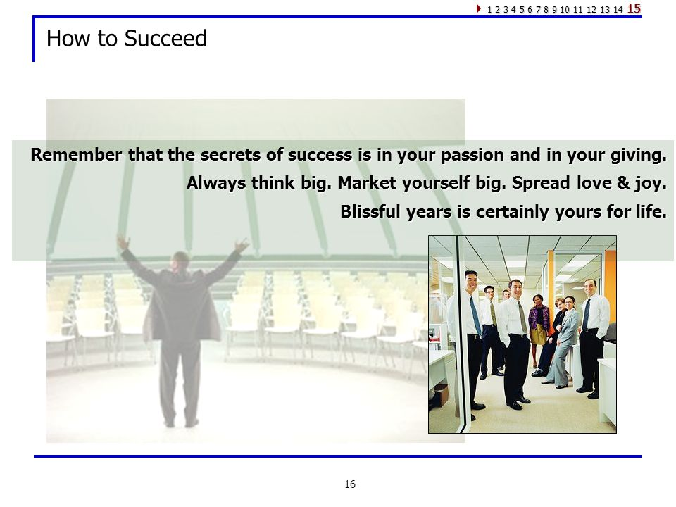 16 How to Succeed Remember that the secrets of success is in your passion and in your giving.