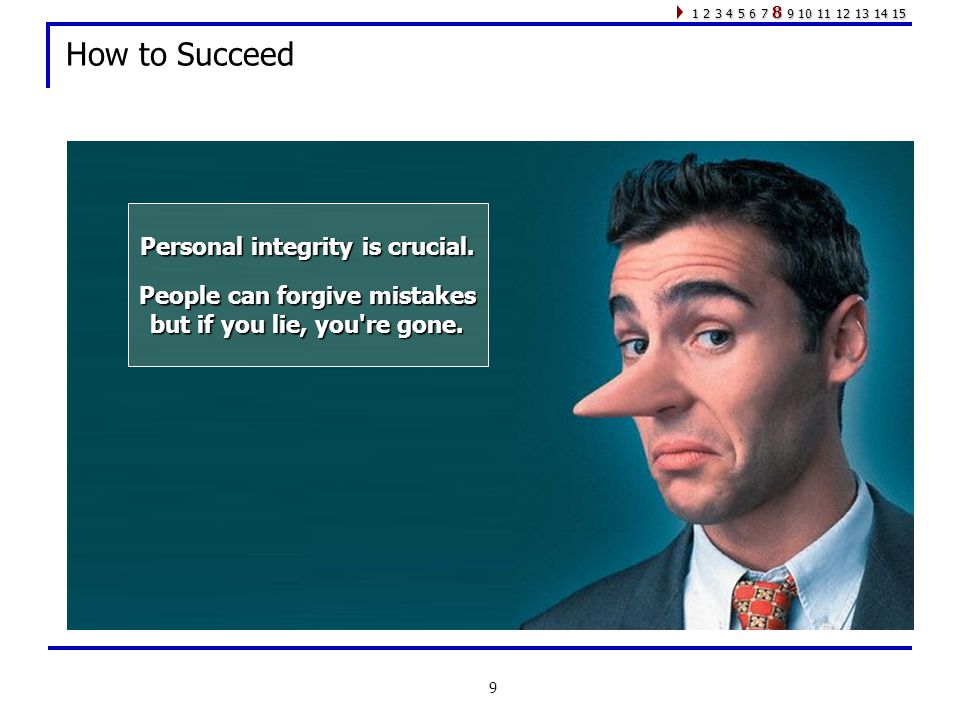 9 How to Succeed Personal integrity is crucial.