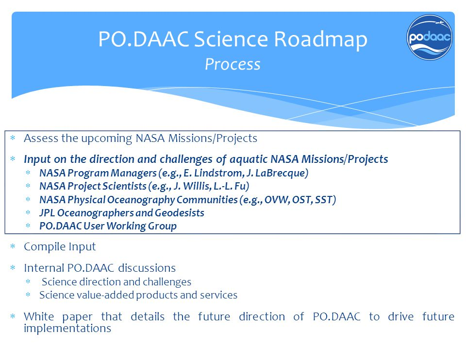  Assess the upcoming NASA Missions/Projects  Input on the direction and challenges of aquatic NASA Missions/Projects  NASA Program Managers (e.g.,