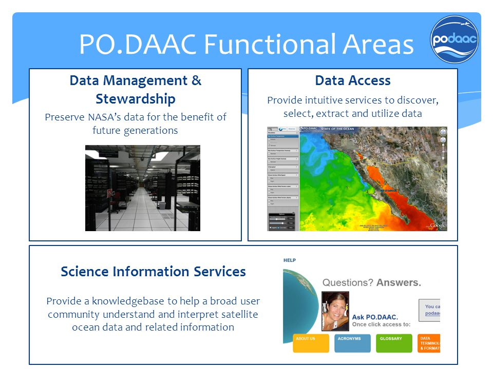 Data Management & Stewardship Preserve NASA's data for the benefit of future generations Data Access Provide intuitive services to discover, select, e