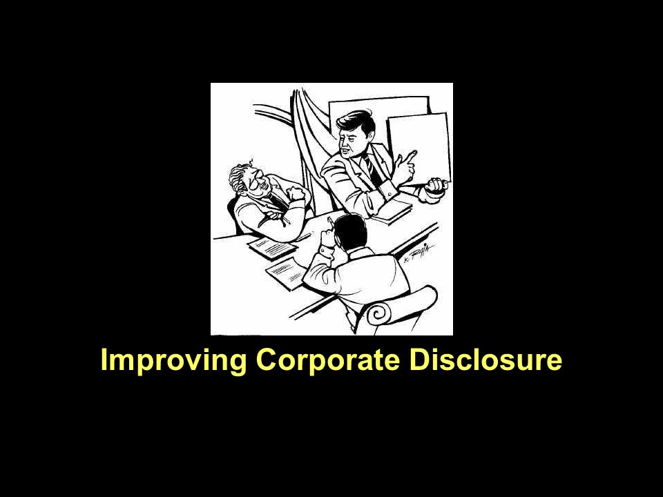 I THINK the topic — how companies can improve their disclosures to investors — is an important one.