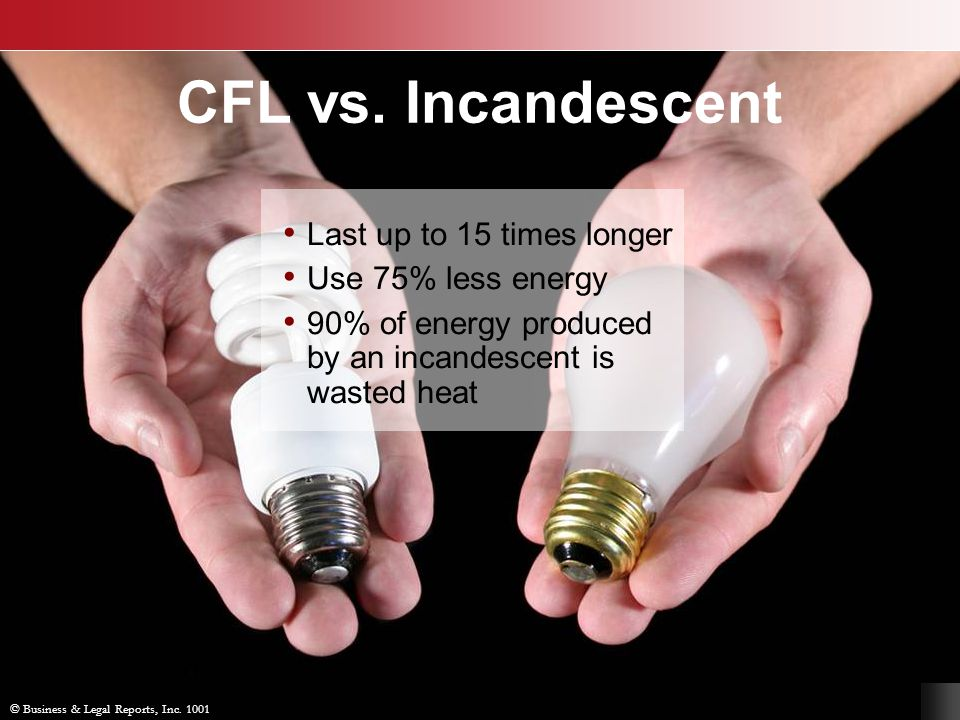 CFL vs. Incandescent Last up to 15 times longer Use 75% less energy 90% of energy produced by an incandescent is wasted heat © Business & Legal Report