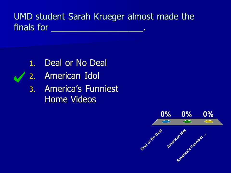UMD student Sarah Krueger almost made the finals for ___________________.