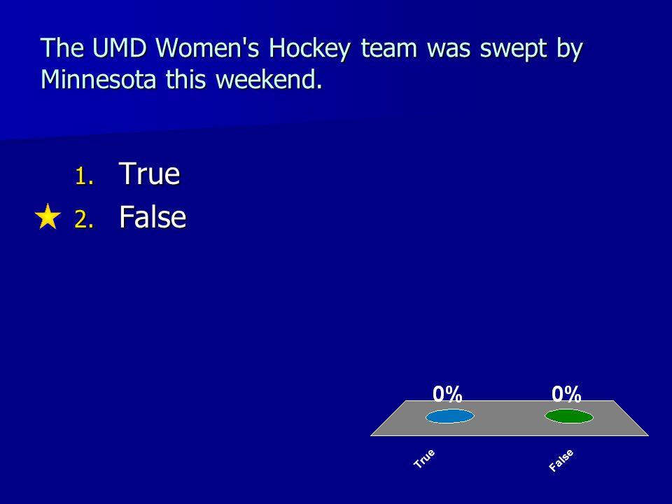 The UMD Women s Hockey team was swept by Minnesota this weekend. 1. True 2. False