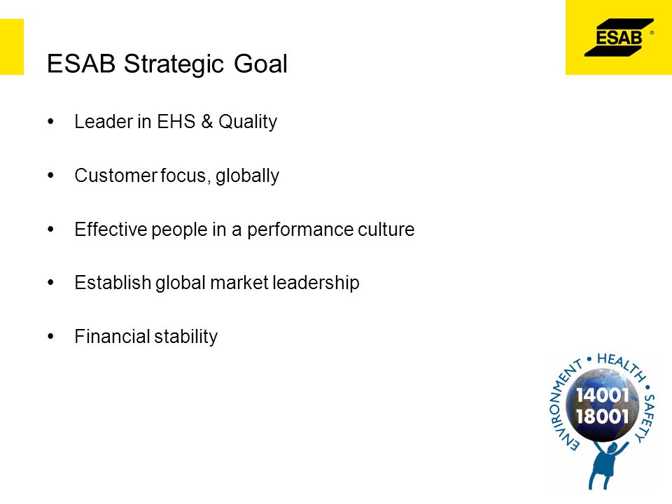 ESAB Strategic Goal  Leader in EHS & Quality  Customer focus, globally  Effective people in a performance culture  Establish global market leaders