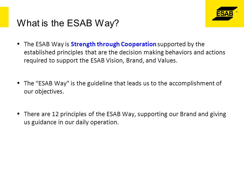 What is the ESAB Way?  The ESAB Way is Strength through Cooperation supported by the established principles that are the decision making behaviors an