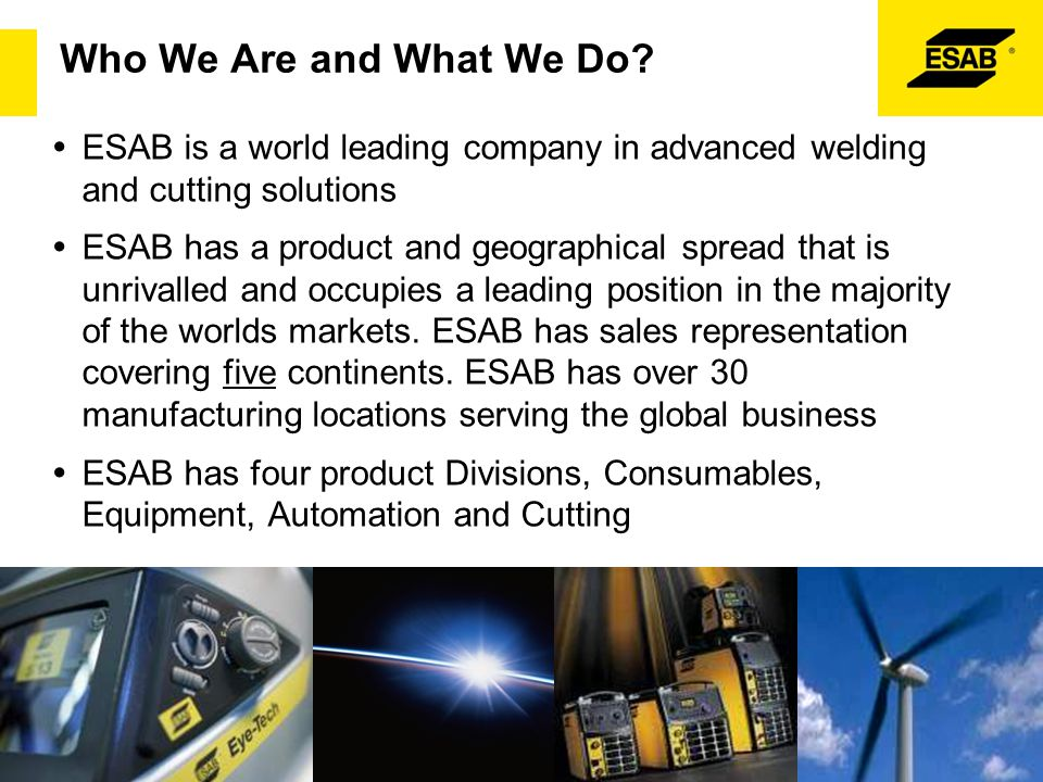 ESAB Strategic Goal  Leader in EHS & Quality  Customer focus, globally  Effective people in a performance culture  Establish global market leadership  Financial stability