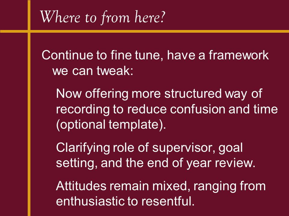 Where to from here? Continue to fine tune, have a framework we can tweak: Now offering more structured way of recording to reduce confusion and time (