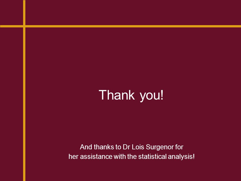 Thank you! And thanks to Dr Lois Surgenor for her assistance with the statistical analysis!