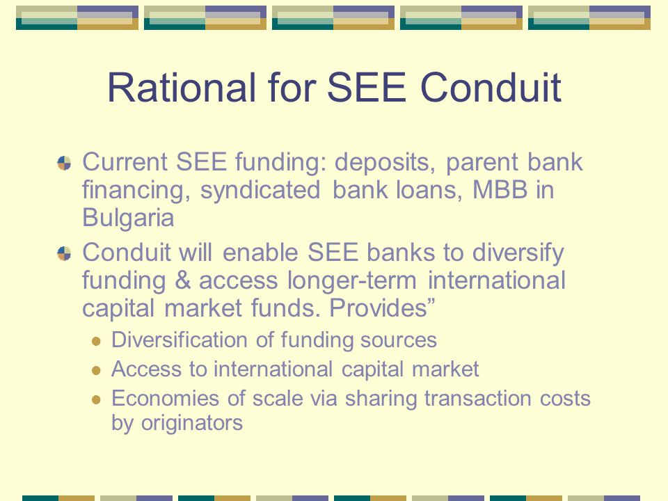 Rational for SEE Conduit Current SEE funding: deposits, parent bank financing, syndicated bank loans, MBB in Bulgaria Conduit will enable SEE banks to
