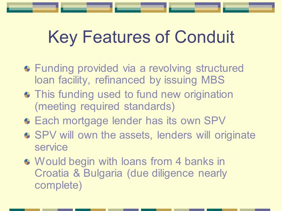 Key Features of Conduit Funding provided via a revolving structured loan facility, refinanced by issuing MBS This funding used to fund new origination