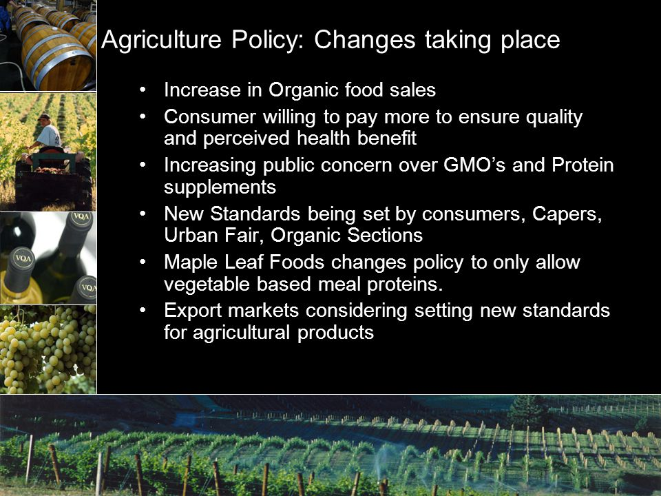Agriculture Policy: Changes taking place Increase in Organic food sales Consumer willing to pay more to ensure quality and perceived health benefit Increasing public concern over GMO's and Protein supplements New Standards being set by consumers, Capers, Urban Fair, Organic Sections Maple Leaf Foods changes policy to only allow vegetable based meal proteins.