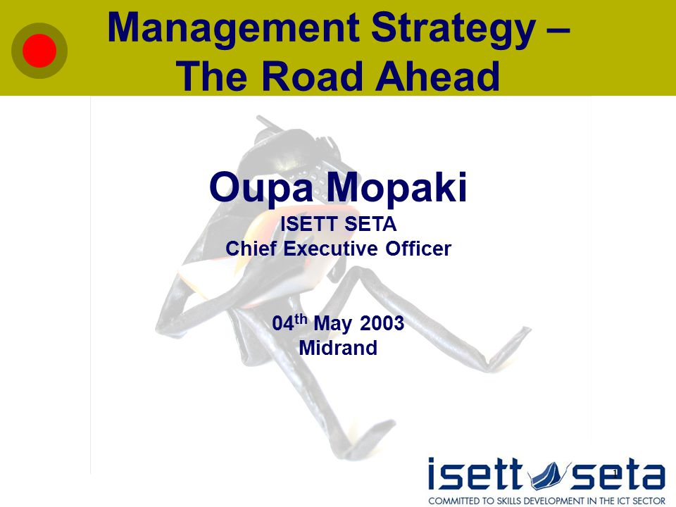 1 Management Strategy – The Road Ahead Oupa Mopaki ISETT SETA Chief Executive Officer 04 th May 2003 Midrand