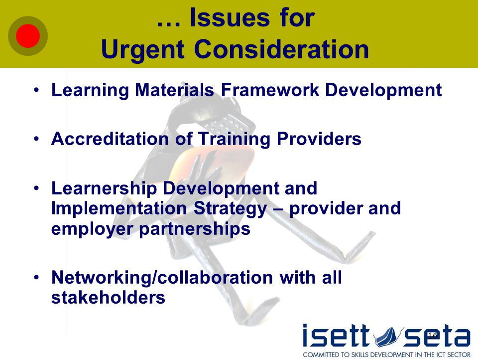 16 … Issues for Urgent Consideration Learning Materials Framework Development Accreditation of Training Providers Learnership Development and Implemen