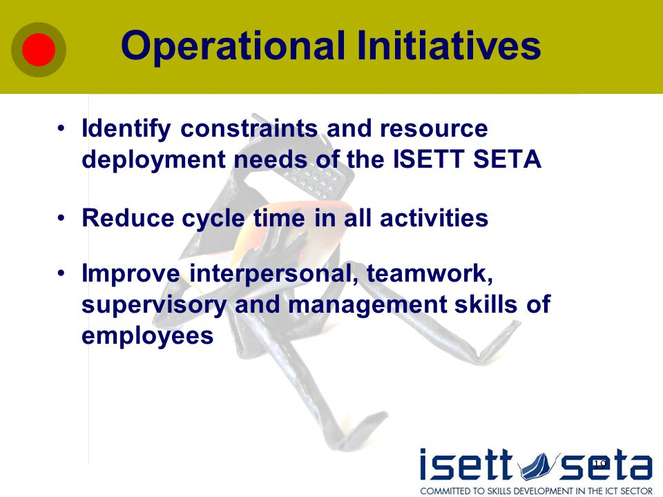 19 Operational Initiatives Identify constraints and resource deployment needs of the ISETT SETA Reduce cycle time in all activities Improve interpersonal, teamwork, supervisory and management skills of employees
