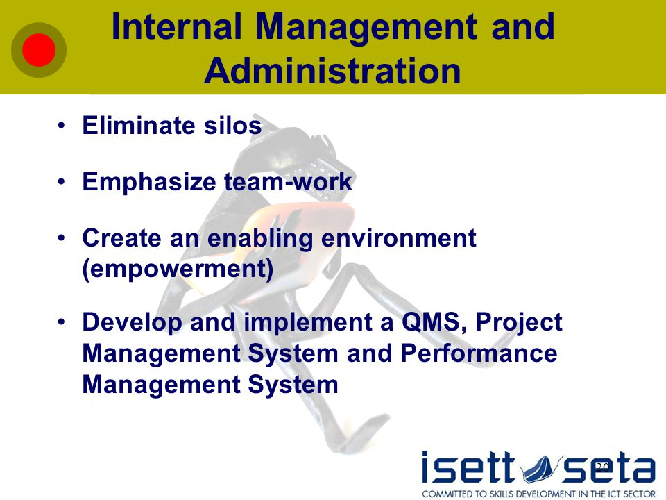 20 Internal Management and Administration Eliminate silos Emphasize team-work Create an enabling environment (empowerment) Develop and implement a QMS, Project Management System and Performance Management System