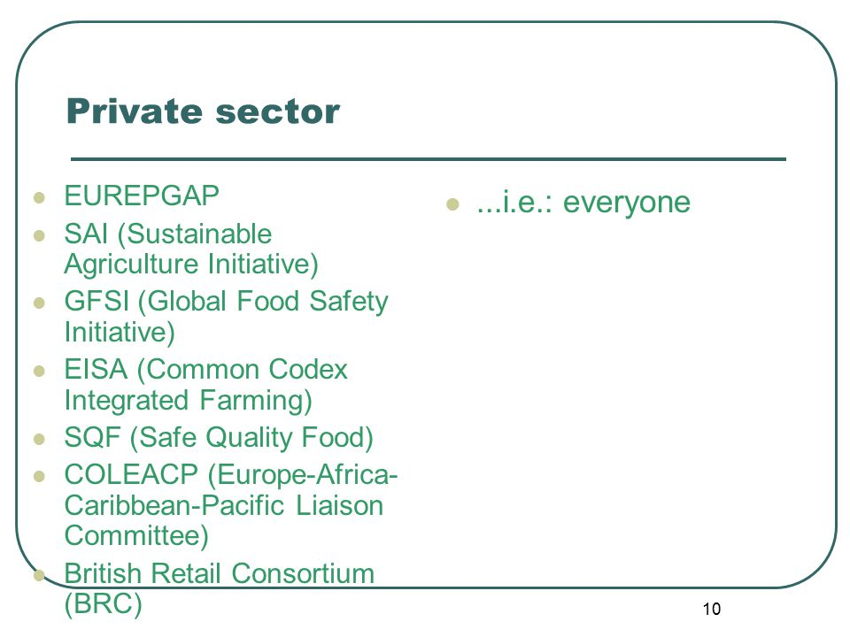 10 Private sector EUREPGAP SAI (Sustainable Agriculture Initiative) GFSI (Global Food Safety Initiative) EISA (Common Codex Integrated Farming) SQF (Safe Quality Food) COLEACP (Europe-Africa- Caribbean-Pacific Liaison Committee) British Retail Consortium (BRC)...i.e.: everyone