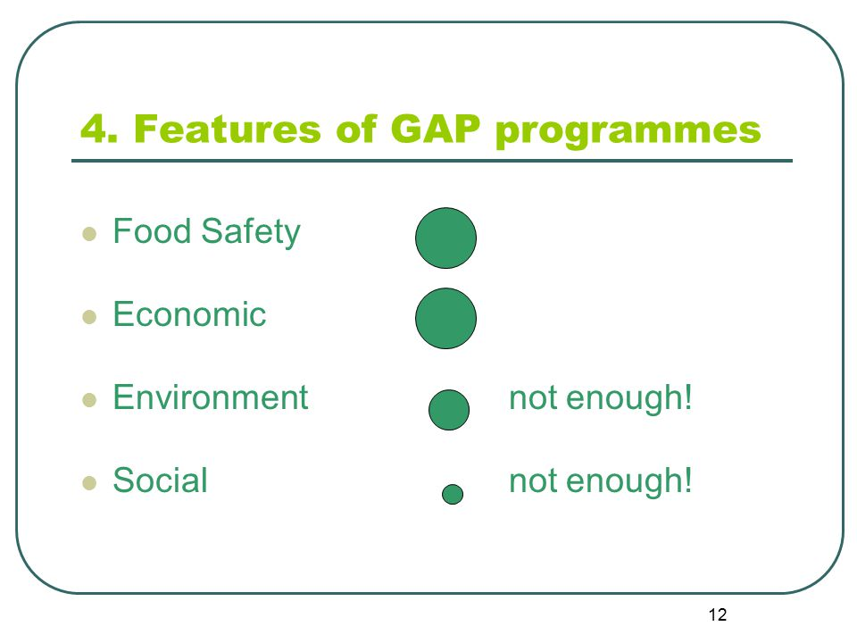 12 4. Features of GAP programmes Food Safety Economic Environmentnot enough! Socialnot enough!