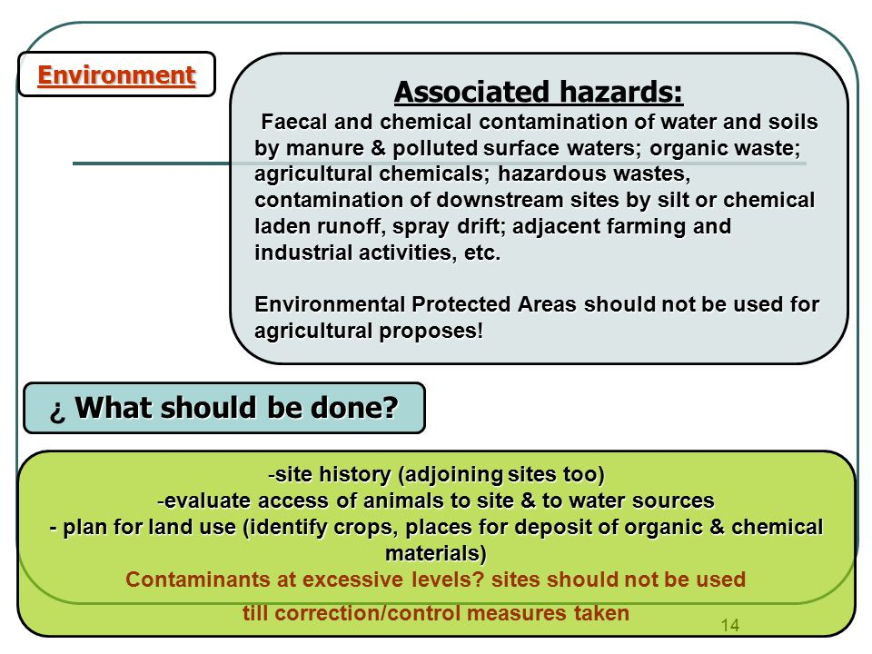 14 Environment Associated hazards: Faecal and chemical contamination of water and soils by manure & polluted surface waters; organic waste; agricultural chemicals; hazardous wastes, contamination of downstream sites by silt or chemical laden runoff, spray drift; adjacent farming and industrial activities, etc.