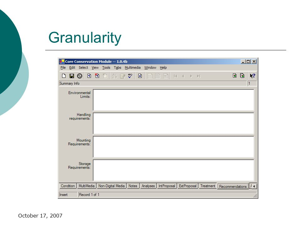 October 17, 2007 Granularity